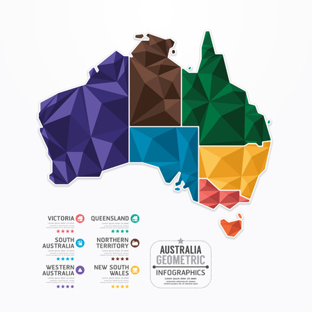 australia: Australia Map Infographic Template geometric concept banner  vector illustration Illustration