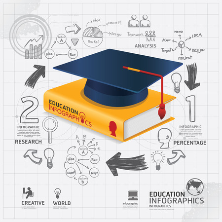 infographic Template with book and Graduation cap doodles line drawing concept vector illustration Vector