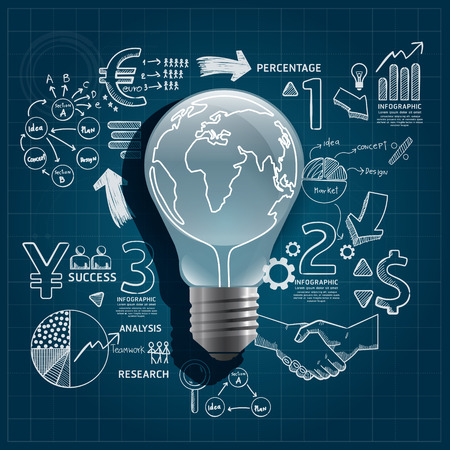 light bulb doodles line drawing blueprint success strategy infographic plan idea with magnifier Vector illustration Reklamní fotografie - 28609902