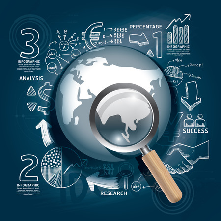 World Business doodles line drawing blueprint success strategy plan idea with magnifier Vector illustration Focus Success Concept  Vector