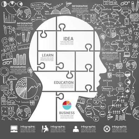 インフォ グラフィックの頭とジグソー パズル落書き線の描画の成功戦略企画案ベクトル イラスト