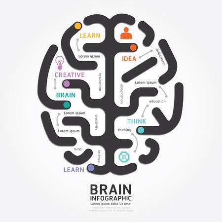 インフォ グラフィック ベクトル脳設計図ライン スタイル テンプレート