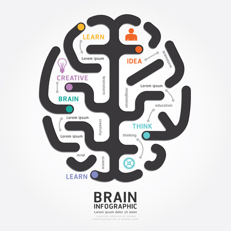 brain: infographics vector brain design diagram line style template
