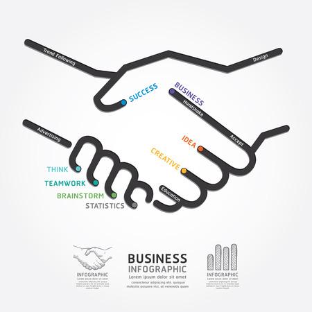 インフォ グラフィックのビジネス ハンドシェイク図ライン スタイル テンプレートを使用できるグラフィックやウェブサイトのレイアウトのベクト