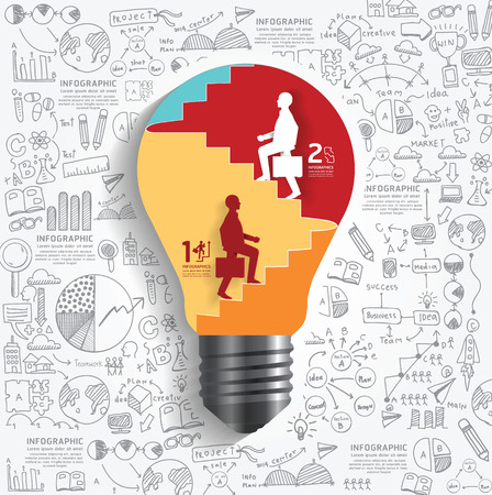 internet education: vector businessman up the Ladder paper cut style in light bulb shape infographic template