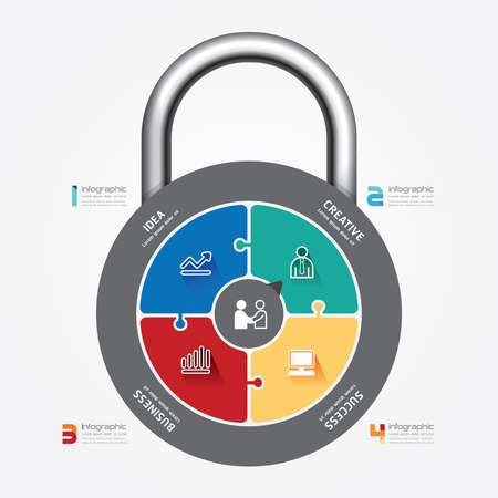 infographic Template with lock jigsaw banner  concept vector illustration Vector