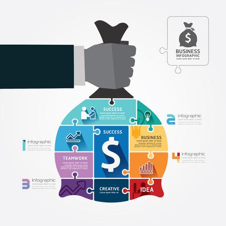 infografica: Template infografica con presa d'affari mano sacchetto di denaro puzzle banner illustrazione vettoriale concetto