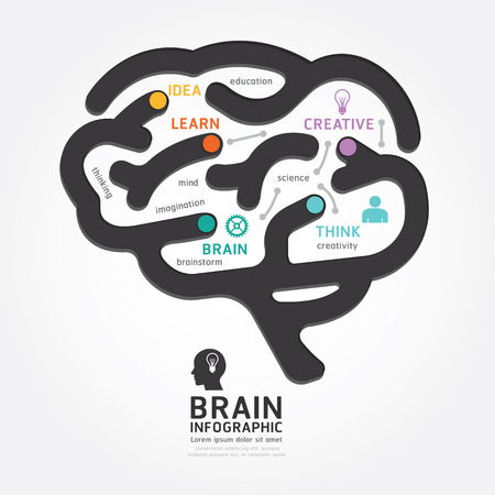 infographics vector brain design diagram line style template Vector