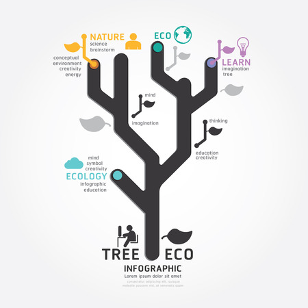 infographics vector tree design diagram line style template Vector