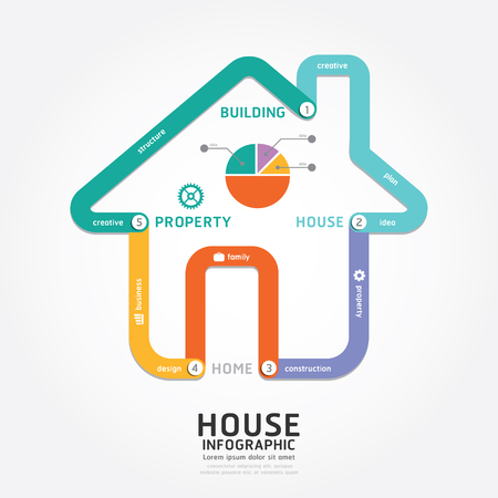 house diagram: infographics vector building house design diagram line style timeline template