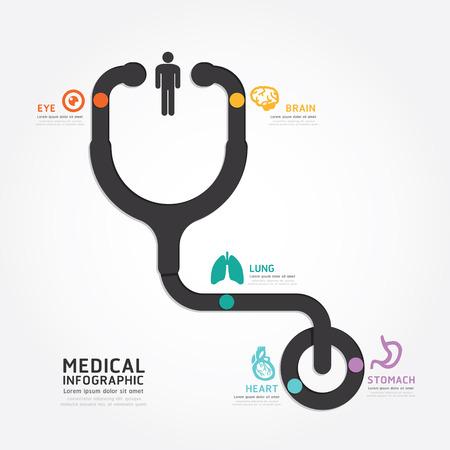 estetoscopio: plantilla infografía vector diseño médico estetoscopio estilo línea de esquema Vectores