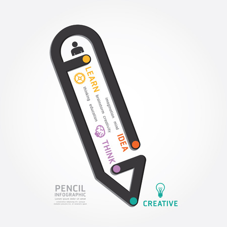 infographics vector pencil design diagram line style timeline template Vector