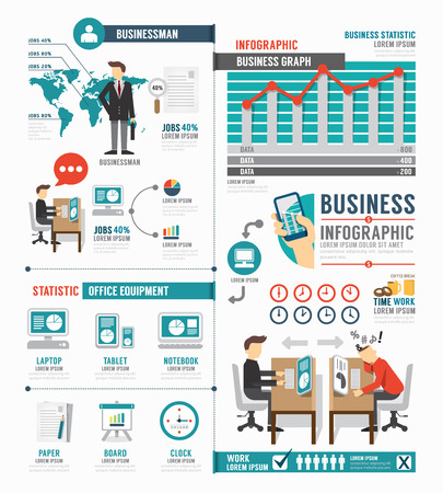 Infographic Business world job template design . concept vector illustration