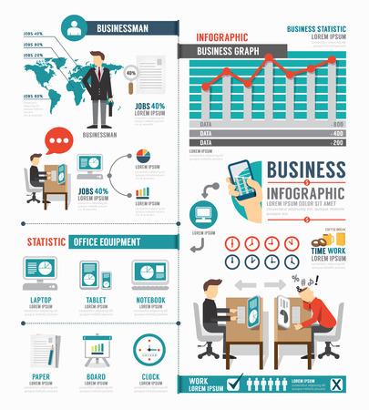 Infographic Business world job template design . concept vector illustration