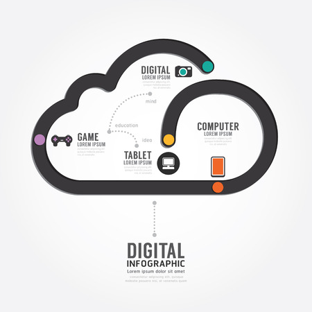 Infographic Technology digital line concept template design . concept vector illustration Vector