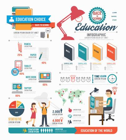 教育: 教育信息圖表模板設計。概念向量插圖 向量圖像