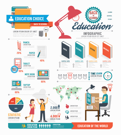 studying: Infographic education template design . concept vector illustration
