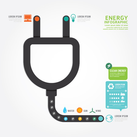 infographics vector eco energy concept design diagram line style template Vector