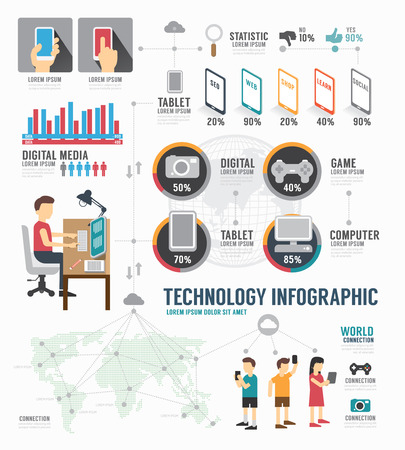 Infographic Technology digital template design . concept vector illustration