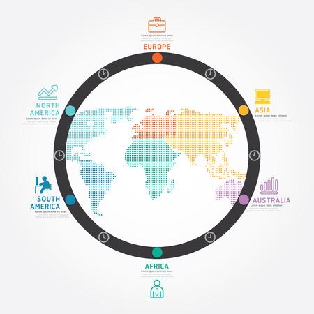 modèle de style de ligne concept d'entreprise infographie vecteur du monde de schéma de conception