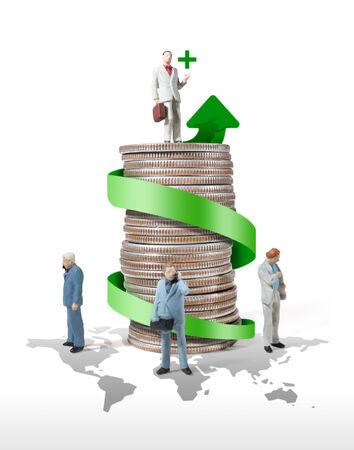 successful campaign: business man miniature figure concept idea to success world business finance and marketing