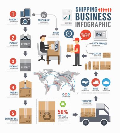 Infographie conception du modèle d'affaires mondial de livraison. concept vecteur Vecteurs