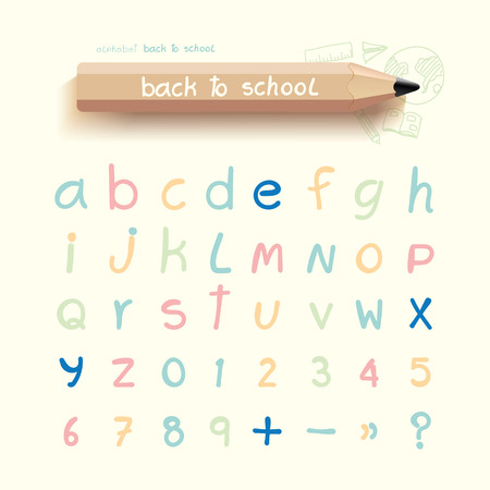 alphabet sketched style ,back to school with doodle Hand drawn  chalkboard on a blackboard background concept.Vector illustration  Vector
