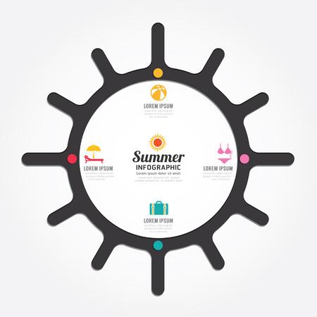 infographics vector sun design summer concept diagram line style timeline template Vector