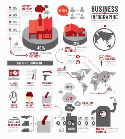 コンセプト: インフォ グラフィック ビジネス世界産業工場テンプレート デザイン。概念ベクトル イラスト