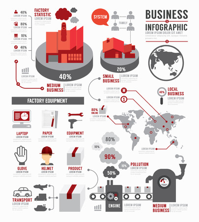 concept: Infographie industrie mondiale d'affaires modèle de conception de l'usine. notion illustration vectorielle