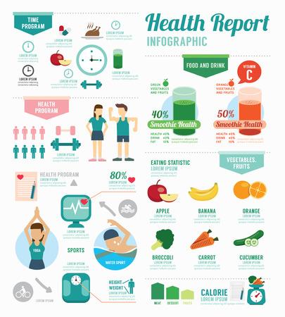 SALUD: Deporte salud Infografía y diseño de la plantilla de bienestar. concepto de ilustración vectorial Vectores