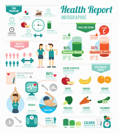healthy exercise: Infographic health sport and Wellness template design . concept vector illustration