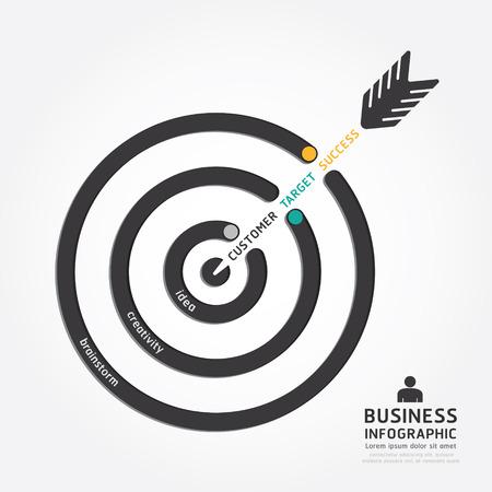 infografía vector de negocios de flecha de diseño. plantilla concepto objetivo del cliente estilo línea de esquema