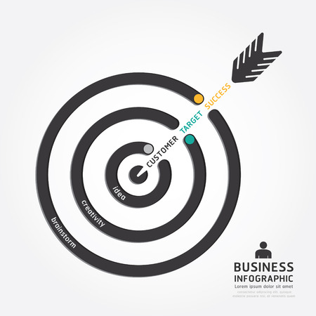 infographics vector business arrow design. customer target concept diagram line style template Illustration