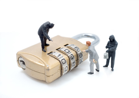 secret service: thief man miniature figure concept steal data