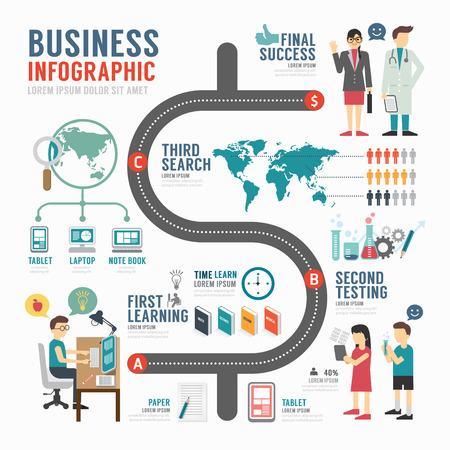 aprendizaje: Diseño de la plantilla bussiness Infografía. concepto de ilustración vectorial