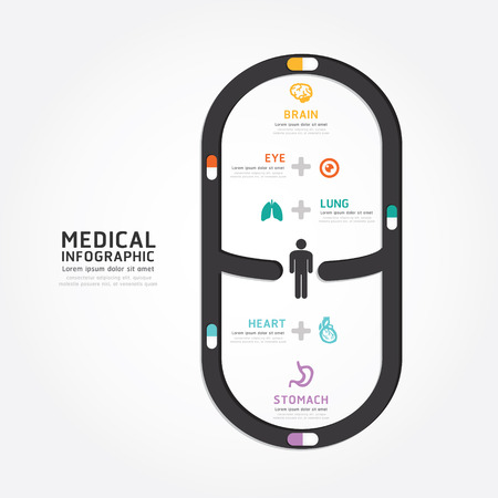 infographics medical capsule design diagram line style template Vector