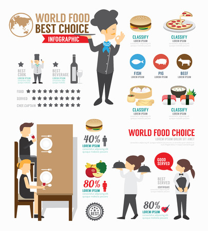 Infographic food world template design .  Vector