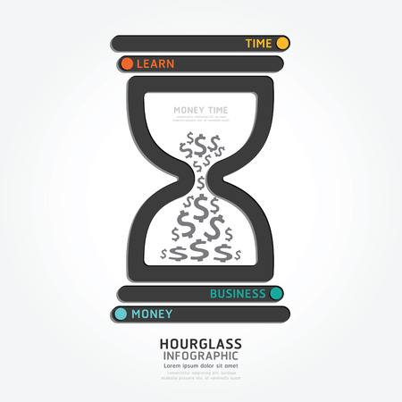money time: infographics vector hourglass design diagram line style template,money time concept.