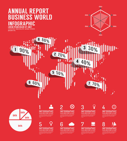 Infographic annual report Business world template design . concept vector illustration Vector