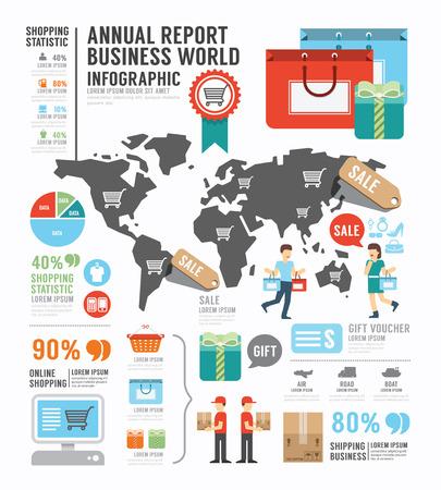 elementi: Infografica relazione annuale dell'industria mondiale Affari design per il modello di fabbrica.