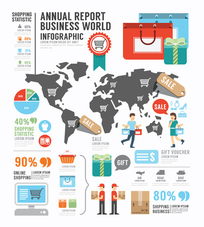 Infographic annual report Business world industry factory template design .  Vector