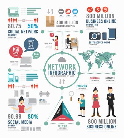 インフォ グラフィックの社会的なネットワークのテンプレート デザイン。