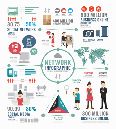 Infographic social network template design .  Vector