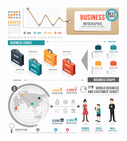 Infographic  Business world  template design .  Vector