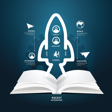 aerospace: book diagram creative paper cut aerospace infographics style  template   can be used for infographics  horizontal cutout lines  graphic or website layout vector