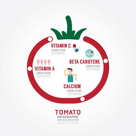 インフォ グラフィック トマト健康概念テンプレート デザイン。概念ベクトル イラスト  イラスト・ベクター素材