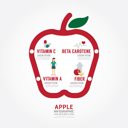 Infographic apple health concept template design . concept vector illustration Иллюстрация