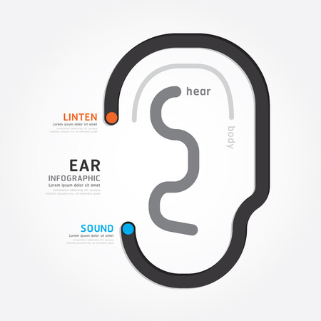 infographic Template with ear line banner . concept vector illustration Vector