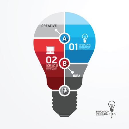 Modern Design Minimal style infographic template with light bulb .can be used for infographics .graphic or website layout vector